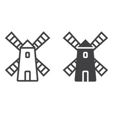 Windmill Line Icon, Outline And Filled Vector Sign, Linear And Full Pictogram Isolated On White. Symbol,  Logo Illustration