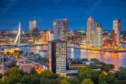 Tuinposter Rotterdam Rotterdam. Cityscape image of Rotterdam, Netherlands during twilight blue hour.