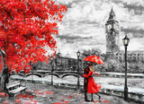 Fototapeta Londyn - oil painting on canvas, street of london. Artwork. Big ben. man and woman under an red umbrella. Tree. England. Bridge and river