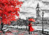 obraz olejny na płótnie, ulica Londynu. Grafika Big Ben. mężczyzna i kobieta pod czerwonym parasolem. Drzewo. Anglia Most i rzeka