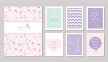 Notebook Cover And Cards Design For Teenage Girls. Paris Theme, Wise Quotes. Included Seamless Pattern With Eiffel Tower, Cupcakes  Sweets On Pastel Pink.