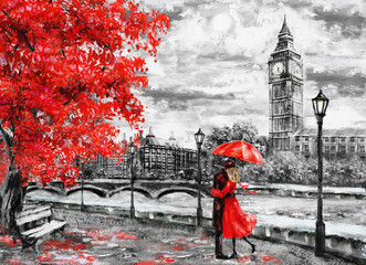 Fototapeta oil painting on canvas, street of london. Artwork. Big ben. man and woman under an red umbrella. Tree. England. Bridge and river