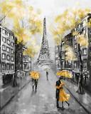 Obraz olejny, Paryż. europejski krajobraz miasta. Francja, Tapeta, Wieża Eiffla. Czarny, biały i żółty, sztuka współczesna. Para pod parasolem na ulicy - 133949140