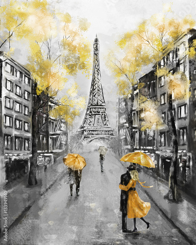 Fototapeta Oil Painting, Paris. european city landscape. France, Wallpaper, eiffel tower. Black, white and yellow, Modern art. Couple under an umbrella on street obraz