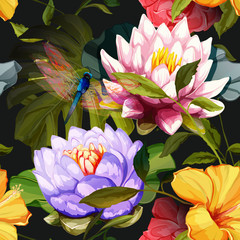 Fototapeta Na szklane drzwi i okna Water lily, Lotus flowers, roses with dragonfly on black. Seamless background pattern. Hand drawn elements. Vector - stock.