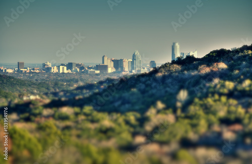 Poster Texas Austin skyline from hill top