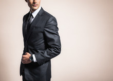 Man Wearing Suit And Tie.
