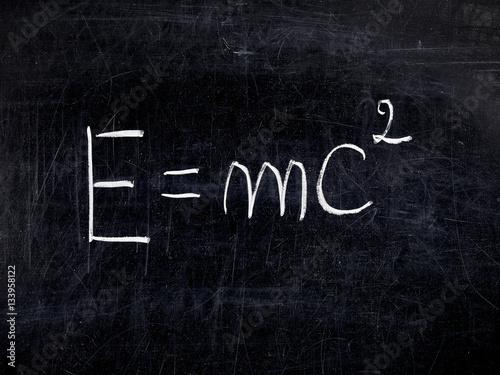 Photo Formula E=mc2 theory Relativity balckboard chalkboard