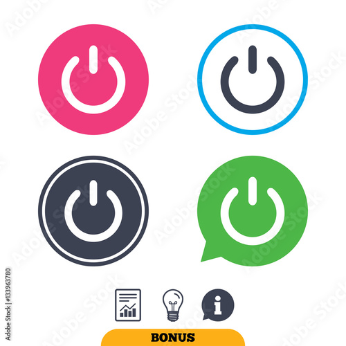 Fotografiet  Power sign icon. Switch on symbol.