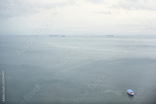 High angle view of seascape against sky