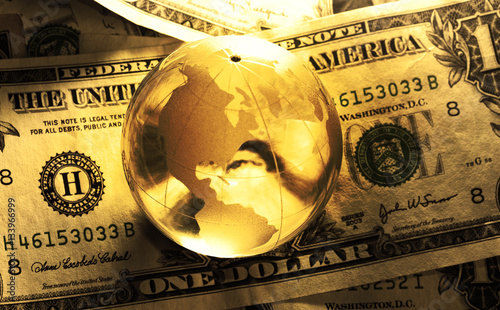 Fotografie, Obraz  dollar bill globe