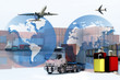 Global logistics network concept, Air cargo trucking rail transportation maritime shipping On-time delivery or worldwide travel or import-export commercial logistic business industry