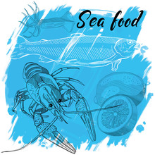 Vector Illustration, Design For A Seafood Restaurant Menu. The Picture Shows The Lobster, Lemon, Squid And Fish On A Blue Background. Hand Draw