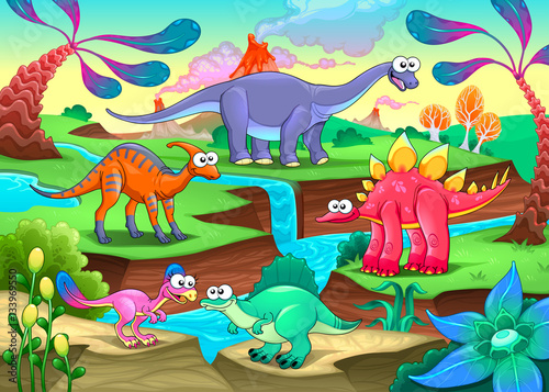 Poster Chambre d enfant Group of funny dinosaurs in a prehistoric landscape