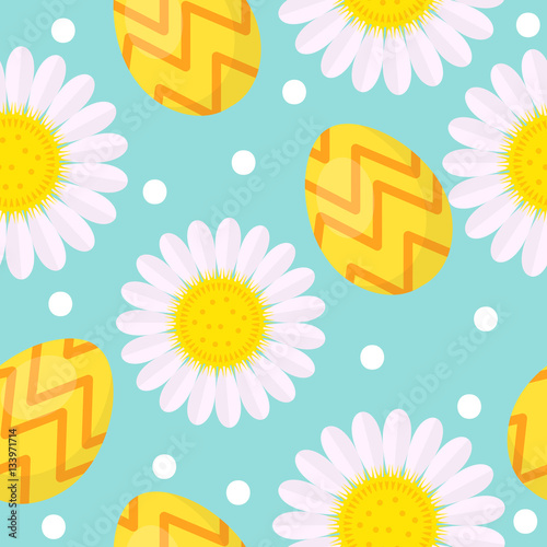 Cotton fabric Cute Easter seamless pattern with eggs and camomile, endless backdrop. Holiday background, texture, digital paper. Vector illustration