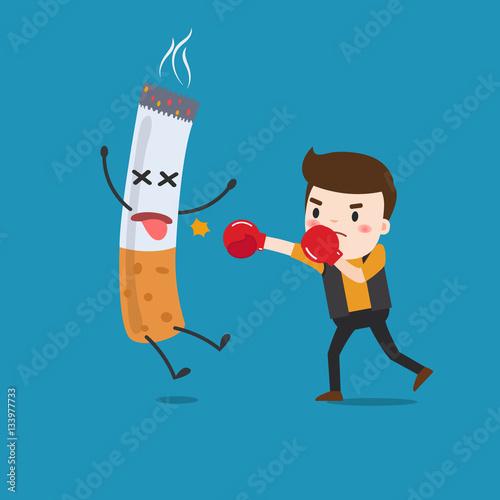 Fotografie, Obraz  vector illustration of a cartoon fight against nicotine