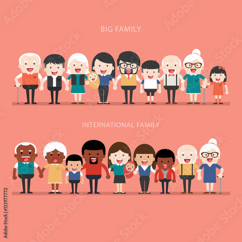 Photo  Family concept. Big happy Family and international family.