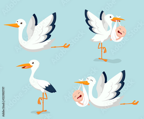 Obraz na płótnie Cartoon Cute stork carrying baby