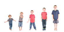 Boy Growing From Age Three To Age Eleven. Stages Of Development