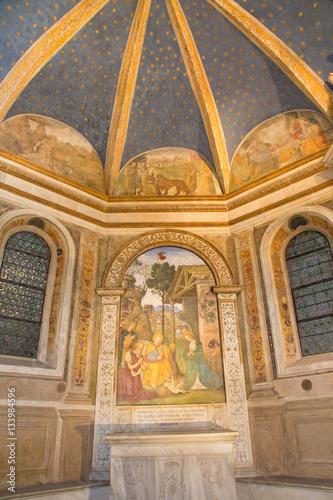 Zdjęcie XXL RZYM WŁOCHY, MARZEC, - 9, 2016: Fresku narodzenie jezusa z St Jerome Bernardino Pinturicchio w Rovere kaplicie w kościelnej bazylice Di Santa Maria Del Popolo (1488, 1490).
