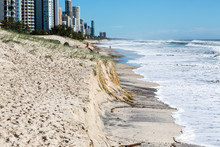 Beach Erosion After Storm Activity Gold Coast Australia