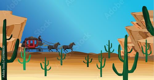 western scene with stagecoach wagon Canvas-taulu