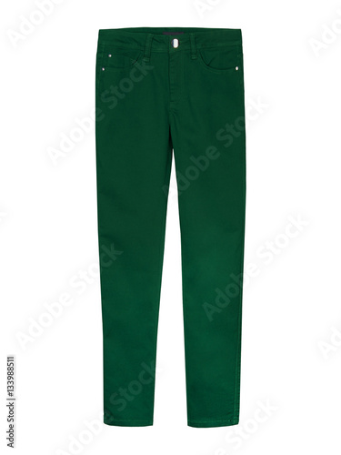 Fotografie, Obraz  Classic green trousers isolated on white