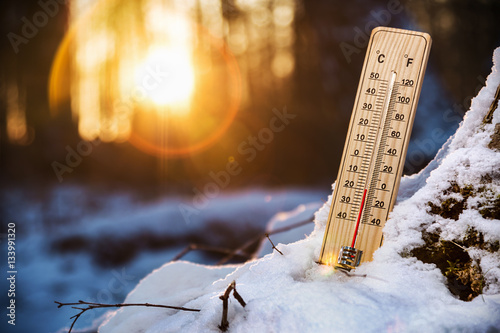 Fototapeta thermometer with low temperature in the snowy woods. Cold weather in the woods obraz