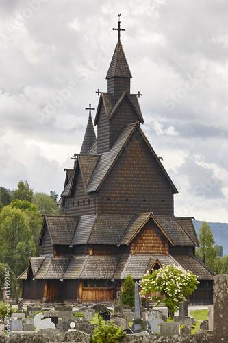 Papiers peints Edifice religieux Norwegian stave church. Heddal. Historic building. Norway touris