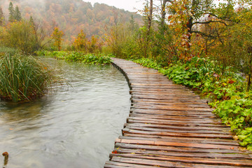 FototapetaWooden tourist path in Plitvice lakes national park