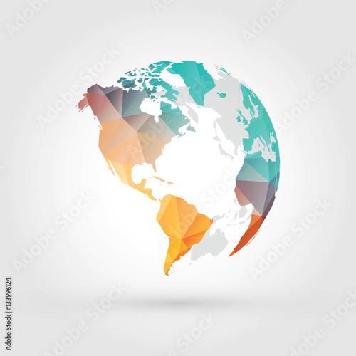 geometric globe earth planet america