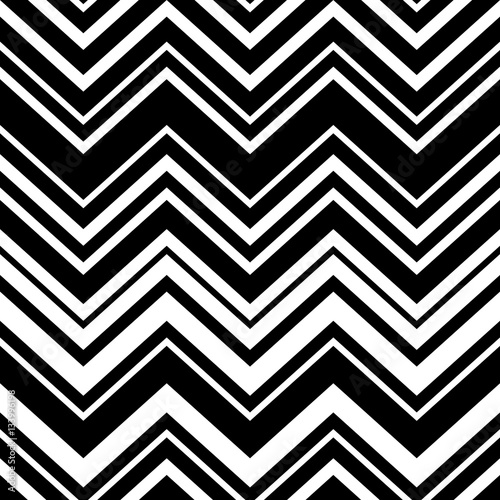Abstract black and white geometric chevron seamless pattern, vector Wallpaper Mural