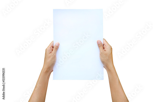 Fotografía  Woman hands holding sheet of paper isolated on white background.
