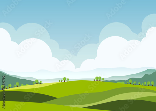 Spoed Foto op Canvas Wit nature landscape background, cuted flat design