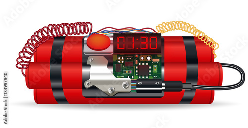 Valokuva  red dynamite pack with electric time bomb