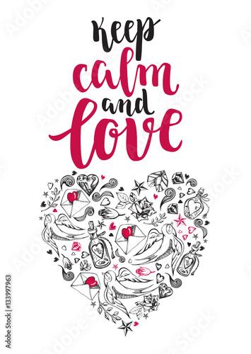zachowaj-spokoj-i-kochaj-tlo-z-pedzlem-kaligrafii-nowoczesny-napis-i-serce-recznie-rysowane-elementy