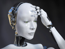 3D Rendering Of Female Robot Crying Nr 1.