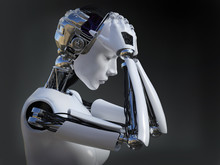 3D Rendering Of Female Robot Crying Nr 2.