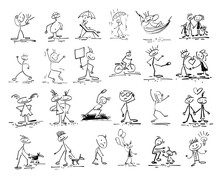 Hand Drawing Sketch Doodle Human Stick Figure
