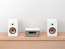 Micro Hi Fi Stereo System Mockup, Network Receiver,  Cd And Mp3 Player, 3d Rendering
