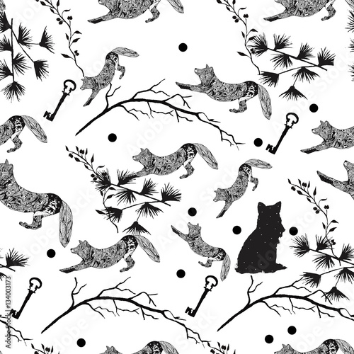 Cotton fabric pattern with animals black. Ink drawing of a Fox. seamless