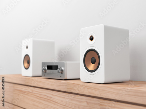 Fotografía  Micro Hi-Fi stereo system mockup, Network receiver,  cd and mp3 player, 3d rende