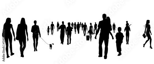 Fotografia, Obraz  People silhouettes on the street