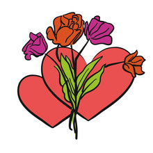 Zwei Herzen Und Blumen