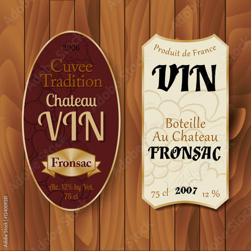 Fototapety, obrazy: Vintage wine labels with hand-drawn details on wooden background