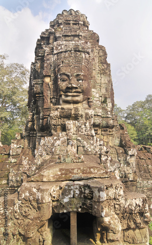Photo sur Aluminium Monument The Bayon - richly decorated Khmer temple at Angkor in Cambodia.