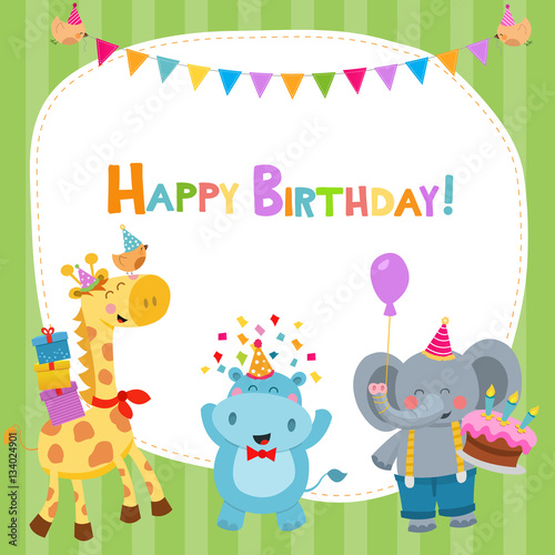 Cute Birthday Card With Animals Buy This Stock Vector And Explore