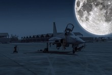 F-5E Aggressor Hornet Fighter Jet Reflects The Full Moonlight. F-5 Military Aircraft Parked In The Airport At Night Sky With Stars