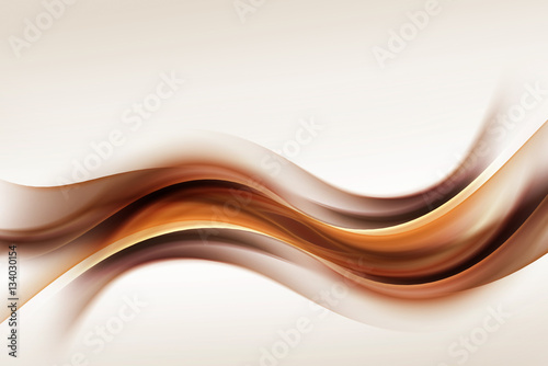 Photo sur Toile Abstract wave Gold Brown Waves Blurred Abstract Background
