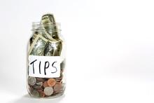 Glass Tips Jar